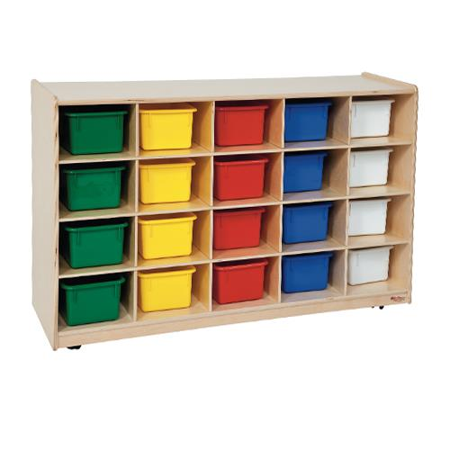 Wood Designs™ Mobile 20-Cubby Storage Cabinets