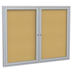 Ghent Enclosed Two-Door Tackboards with Satin Aluminum Frame