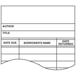 Brodart White Book Cards with Author, Title, Date Due, Borrower's Name, and Date Returned