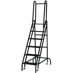Roll-Stair Aluminum Six-Step Platform Ladder with Handrails