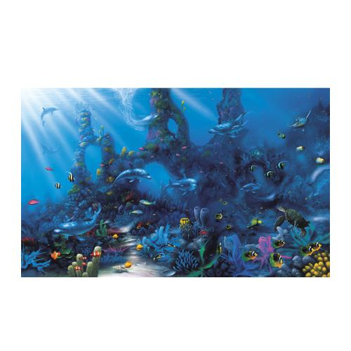 Environmental graphics dolphins 39 paradise wall mural for Dolphin paradise wall mural
