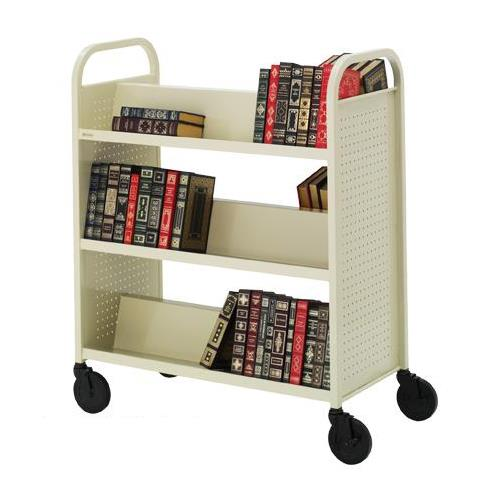 Bretford Voyager Double Sided Welded Steel Book Truck With Six Sloping Shelves