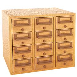 Brodart 12-Tray Card Catalog Cabinet with Solid Oak Front