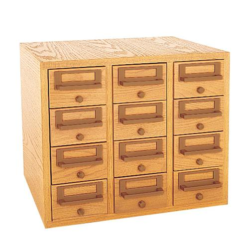 Brodart 12 Tray Card Catalog Cabinet With Solid Oak Front