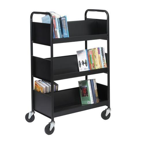 Biofit Double Sided Welded Steel Book Truck With Six Sloping Shelves