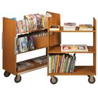 Image of Brodart Classic Solid Wood Compact Three Flat Shelf Book Trucks