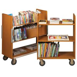 Brodart Classic Solid Wood Compact Three Flat Shelf Book Trucks