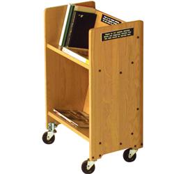 "Brodart Classic Solid Wood Single-Sided 20""W End-0f-Range Solid Wood Book Truck"