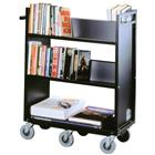 Image of Gryphon Premium Steel Double-Sided Book Truck with Four Sloping Shelves, one Flat Bottom Shelf