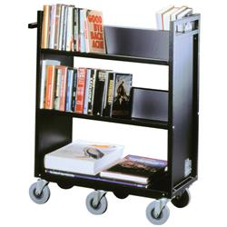 Gryphon Premium Steel Double-Sided Book Truck with Four Sloping Shelves, one Flat Bottom Shelf