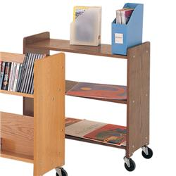 Brodart Classic Solid Wood Standard Flat End-of-Range Book Truck