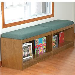 Brodart Classic Oak Starter Benches with Storage, Display, and Seating
