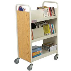 "Brodart 39 1/2""W Double-Sided Steel Book Trucks with Four Sloping/One Flat Bottom Shelf"