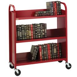Bretford Duro Series Thin-Line Putty Steel Book Truck with Three Sloping  Shelves