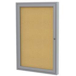 Ghent Enclosed Single-Door Tackboards with Satin Aluminum Frame