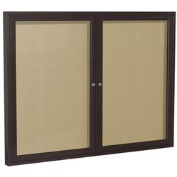 Ghent Enclosed Two-Door Tackboards with Bronze Aluminum Frame