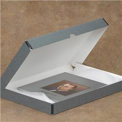 Tyvek® Laminated Gray/White Drop-Spine Clamshell Boxes
