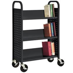 Sandusky Lee® Welded Steel Book Trucks with Three Sloping Shelves