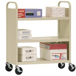 Sandusky Lee® Welded Steel Book Truck with Three Flat Shelves