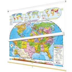 Nystrom Political Relief United Statesworld Map Combo - Map-of-us-political
