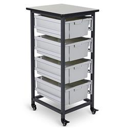 Luxor Mobile Single Row Bin Storage System, 4 Large Bins