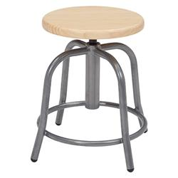 National Public Seating Wood Seat Height-Adjustable Swivel Stool