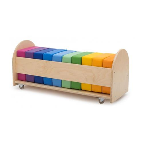 Novum by Gressco Rainbow Square Reading Seat Cushion Set with Rolling Rack