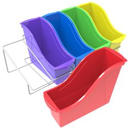 Storex Small Book Bins (Assorted Colors) & Rack