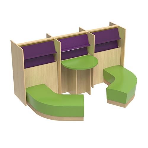 Brodart Quarx Continuous Double-Faced Shelving/Curved Bench Bundle