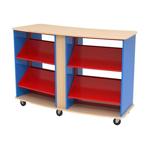 Brodart Quarx Curved Mobile Double-Faced 2-Bay Shelving