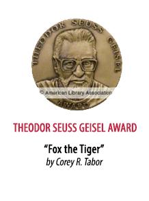 2019 Theodor Seuss Geisel Award Winner