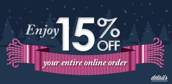 Save 15% on Everything! Offer Ends 01/28/2017