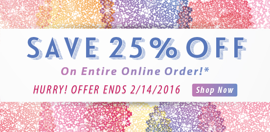 Save 25% OFF Entire Order With WEBLUV!  Some Exclusions apply. Offer Ends 02/14/2016