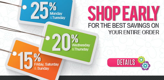 Shop Early Save More! Offer Ends 03/4/2018