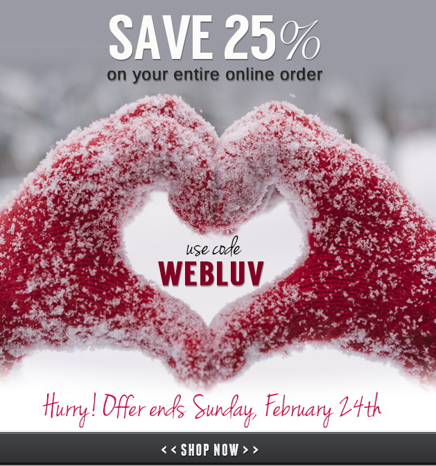 WEBLUV Save 25% OFF Entire Cart, Ends February 24th, 2018