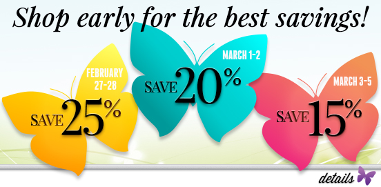 Shop Early Save More! Offer Ends 03/05/2017
