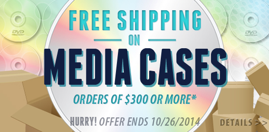 Save with Free Shipping of $300 or More on Media Storage Cases! Offer ends October 26th 2014!