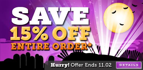 Save 15% OFF Entire Cart! Offer ends November 02 2014!