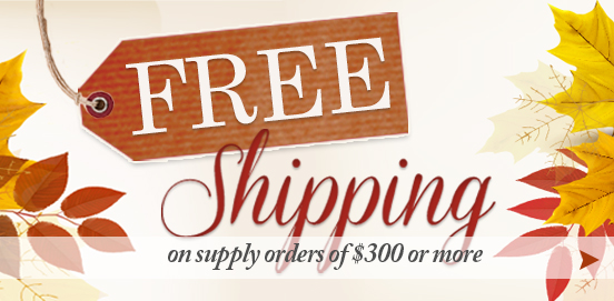 Save with Free Shipping with Supply Orders of $300 or More!  Some Exclusions apply. Offer Ends 11/26/2017