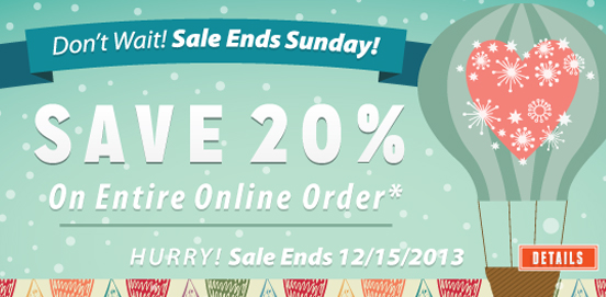 20% OFF Everything; Uses Code WEBLUV, Ends 12/15/13