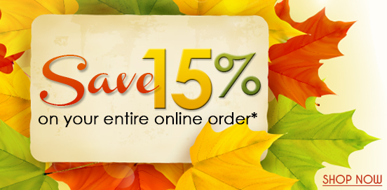 Save 15% on Everything! Offer Ends 10/15/2017