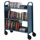 Image of Bretford Voyager Single-Sided Welded Steel Book Truck with Three Sloping Shelves